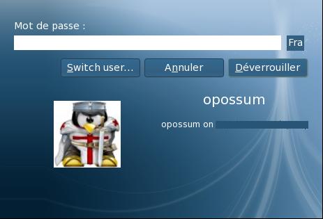 """Fenêtre de déverrouillage d'écran """"système"""""""